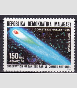 Malagasy 1986 SPACE Halley's comet 1 value Perforated Mint (NH)
