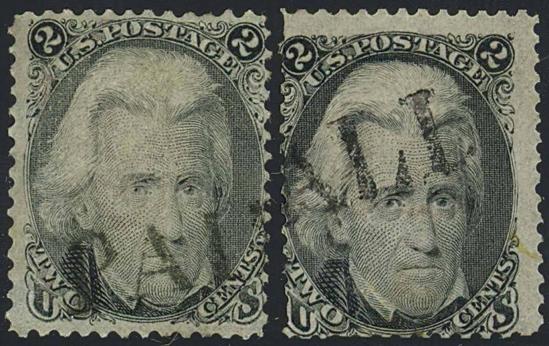 87 Var, PAID ALL FANCY CANCEL ON 2 STAMPS - SCARCE