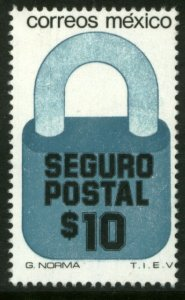 MEXICO G32, $10P Padlock Insured Letter Wmkd Fosfo Paper 2. MINT, NH. F-VF.