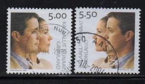 Greenland Sc 429-30 2004 Royal Wedding stamp set used