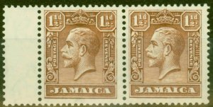 Jamaica 1929 1 1/2d Chocolate SG109 V.F Very Lightly Mtd Mint Pair