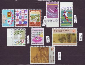 J23351 JLstamps south korea mnh #1350-1,1372-5,1430,1401,1403 designs