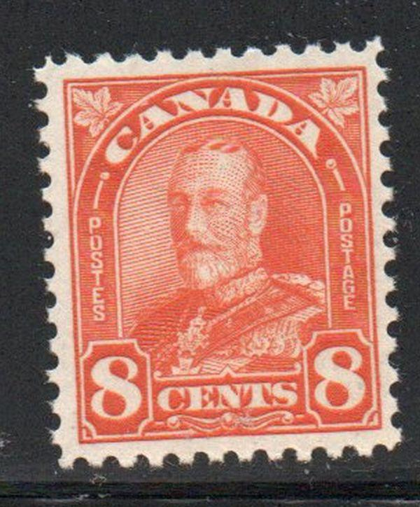 Canada Sc 172 1930 8c red orange George V Arch issue stamp mint