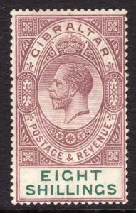 1921 -32 Gibraltar 8/ KGV King George V MLMH Wmk 4: Multi Crown script CA Sc# 90
