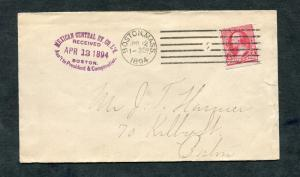 Postal History - Boston MA 1894 Violet Rubber Stamp AMR-D6 Cancel Cover B0330