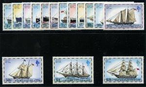 Falkland Islands 1982 QEII Ships set complete MNH. SG 331B-345B. Sc 260a-74a.