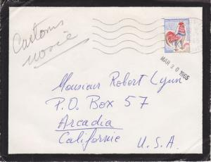 France Sc 1024 on 1965 Mourning Cover to California