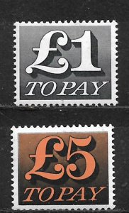 COLLECTION LOT OF 2 GREAT BRITAIN POSTAGE DUE MH 1970+ CV + $35