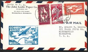 Doyle's_Stamps: Attractive First Flight Cover Portugal to USA