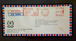 1983 Faisalabad Pakistan To Baltimore MD Johns Hopkins University Air Mail Cover