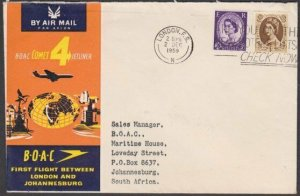 GB 1959 BOAC first flight cover to South Africa.............................N651
