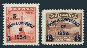 Philippines 613-614,MNH. Manila Conference,1954.Banifacio Manument,Mayon Volcano
