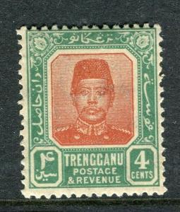 MALAYA TRENGGANU; 1910 early Sultan Zain issue Mint hinged 4c. value