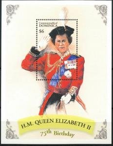 2001	Dominica	3142/B427	75 years of Queen Elizabeth II