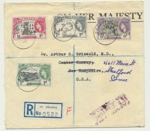 ST HELENA 1960 REG OHMS COVER TO USA, 2sh2d RATE  (SEE BELOW)