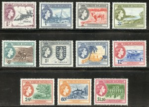 Virgin Islands Scott 115-125 Unused F-VFHOG - 1956 VI Culture Issue - SCV $21.35