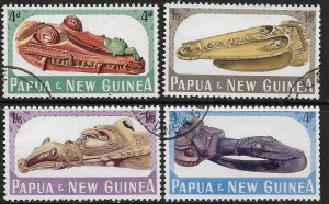 PAPUA & NEW GUINEA  199-202 USED WOOD CARVINGS SET 1965