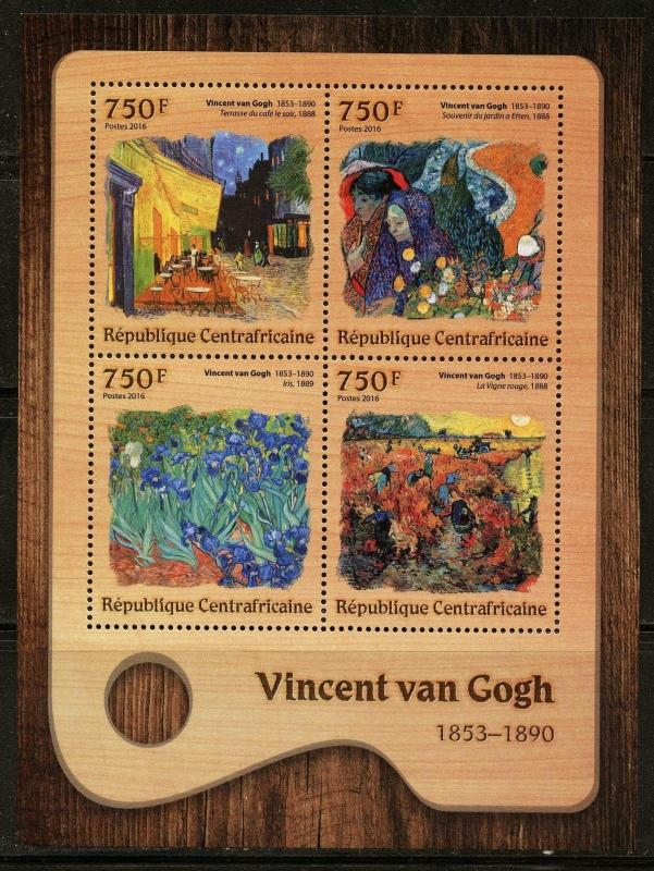 CENTRAL AFRICA 2016 VINCENT van GOGH  PAINTING SHEET MINT NEVER HINGED