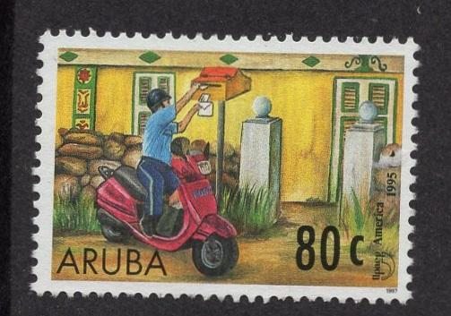 Aruba   #146   used  1997  America issue mailman  80c