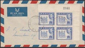 FIJI 1959 GVI 1/6d changed colour - block of 4 on FDC ex Savu Savu East.....F912