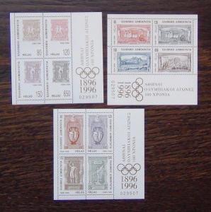 Greece 1996 Centenary of Modern Olympics Games Miniature sheet x 3 MNH