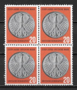 Germany 787 German Currency Reform Block of 4 MNH