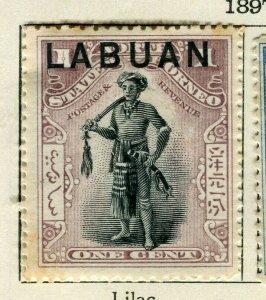 NORTH BORNEO LABUAN; 1897 classic Pictorial issue unused 1c. value