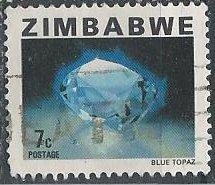 Zimbabwe 418 (used) 7c blue topaz