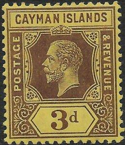 CAYMAN ISLANDS SG45b 1914 3d PURPLE ON LEMON MTD MINT