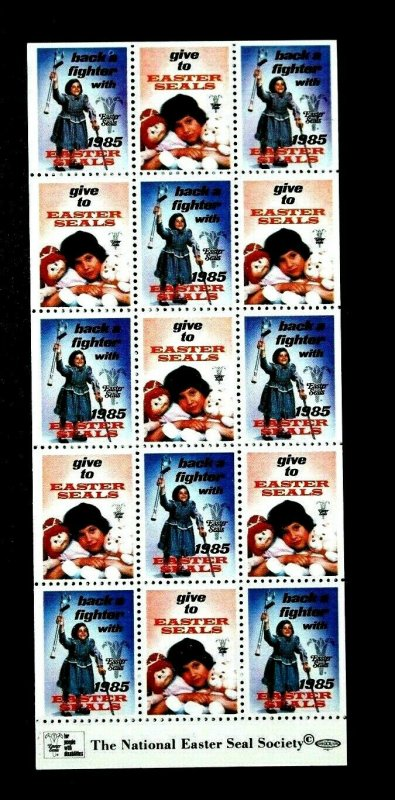 US Vintage MNH Block of 15 The National Easter Seal Society 1985.