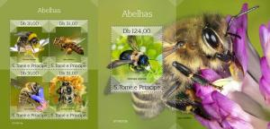 Z08 ST190313ab Sao Tome and Principe 2019 Bees MNH ** Postfrisch