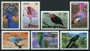 Liberia Birds on Stamps 1998 MNH Spoonbills Tanagers Macaws Parrots 7v Set