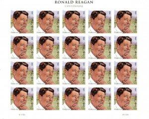 U.S. 4494 Ronald Reagan Sheet of 20 VF-XF MNH