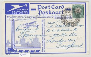 South Africa 1936 Airmail Postcard To London Signed By Pilot Postal Histor J6065