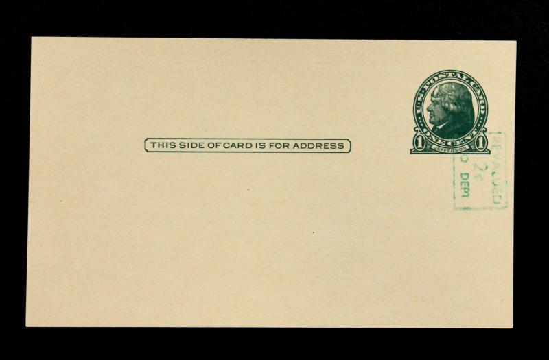 U.S. Postal Card# UX39a 1¢Cent Jefferson Surcharge Vertical