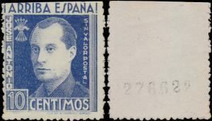 ESPAGNE / SPAIN Sello Benéfico 10c José Antonio SIN VALOR POSTAL Cifra al Dorso