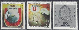 EL SALVADOR UNIVERSITY 150th ANNIVERSARY Sc 1263-5 MNH 1991