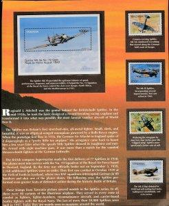 TANZANIA  #1656 - Spitfire Planes - Souvenir Sheet of 5 Stamps - SCV $37.50