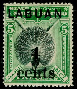 LABUAN SG129, 4c on 5c green, M MINT. Cat £55.