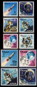 Ajman Mi #93A-102A set/10 mnh - 1966 space program - astronaut White, McDivitt