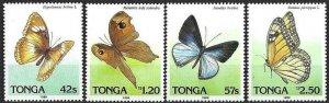 1989 Tonga Butterflies, Farfalle, Papillons complete set VF/MNH! LOOK!