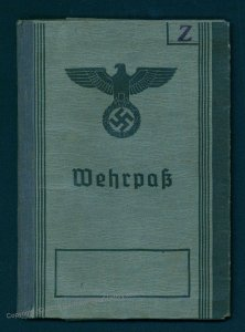 3rd Reich Austria 1945 Germany Volksturm Military ID Service Book Wehrpass 93548