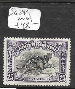 NORTH BORNEO (P2603B) CENTENARY 25C BIG CAT SG 299  MOG