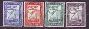 J23596 JLstamps 1944 zanzibar set mlh #218-21 ship