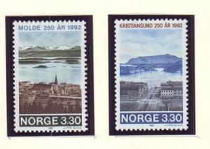 Norway Sc 1026-7 1992 Town Anniversaries stamp set mint NH