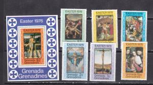 Grenada grenadines 1976 bellini etc easterart paintings set+s/s MNH