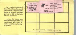 2001 USA Stamp #LTD83 #LT94 Tribal Member SWST Game & Fish Hunting License