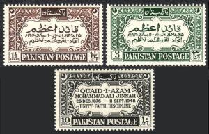 Pakistan 44-46, MNH. Quaid-i-Azam, Mohammed Ali Jinnah, 1st death anniv. 1949