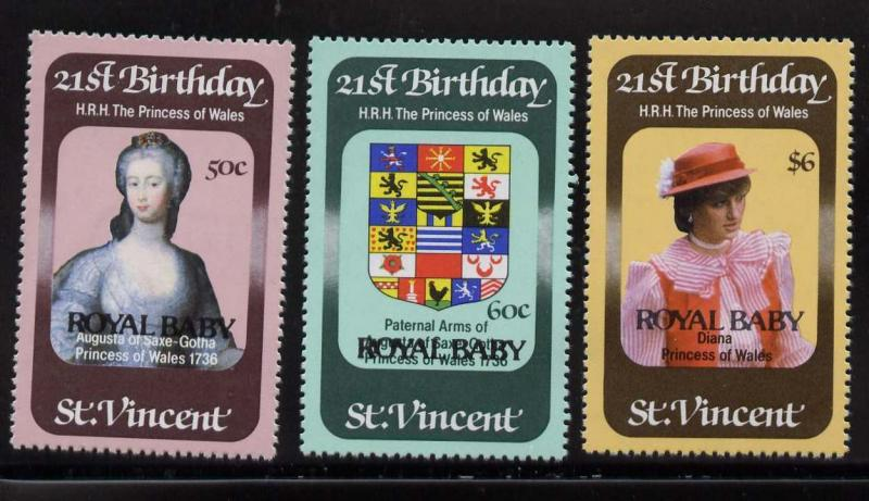 St Vincent 652-4 MNH Princess Diana 21st Birthday, Crest, Royal Baby o/p