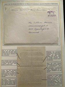 1953 Pyongyang Korea Peace Committee Cover To Copenhagen Denmark W Letter